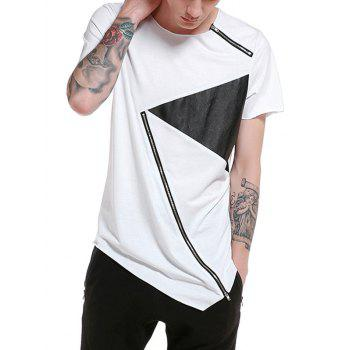 PU Leather Panel Zippers Design Asymmetrical T-shirt - WHITE WHITE