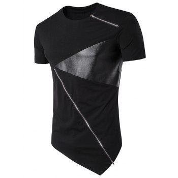 PU Leather Panel Irregular Bottom Zippers Design Longline T-Shirt