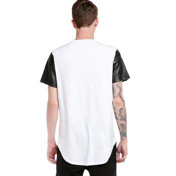 Curve Bottom Cutting PU Leather Panel Longline T-Shirt - WHITE WHITE