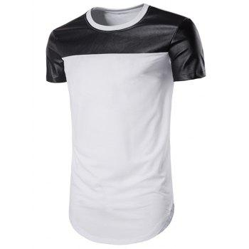 Curve Bottom Cutting PU Leather Panel Longline T-Shirt