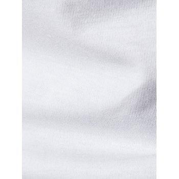 No Placket Collarless Short Sleeve Cotton Blends T-Shirt - WHITE WHITE