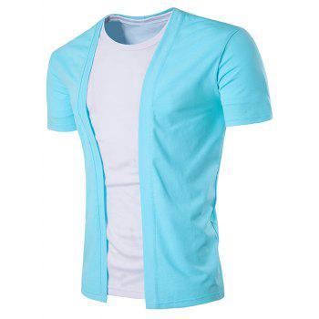 No Placket Collarless Short Sleeve Cotton Blends T-Shirt