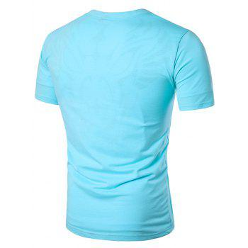 No Placket Collarless Short Sleeve Cotton Blends T-Shirt - LIGHT BLUE LIGHT BLUE