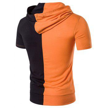 Hooded Pocket Color Block Panel T-Shirt - M M