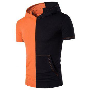 Hooded Pocket Color Block Panel T-Shirt - ORANGE M