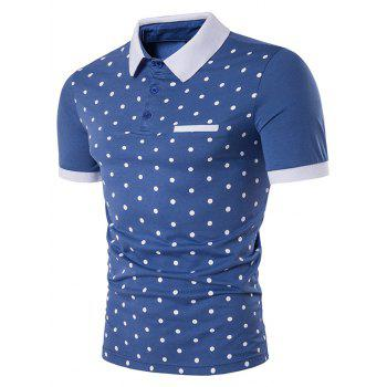 Edging Short Sleeve Polka Dot Print Polo T-Shirt