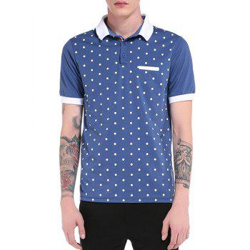 Edging Short Sleeve Polka Dot Print Polo T-Shirt - BLUE BLUE