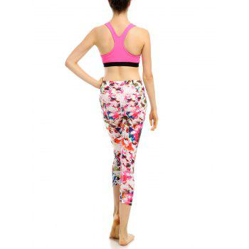 High Waist Colorful Pattern Capri Gym Leggings - XL XL