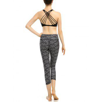 Elastic High Waist Cropped Workout Leggings - S S