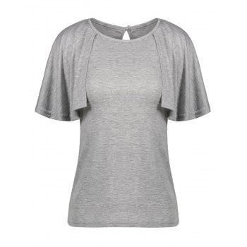 Tiers Layer Flounce Cape T-Shirt - GRAY L