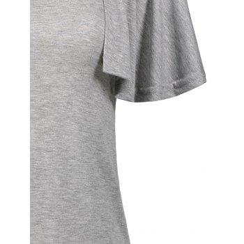 Tiers Layer Flounce Cape T-Shirt - GRAY GRAY