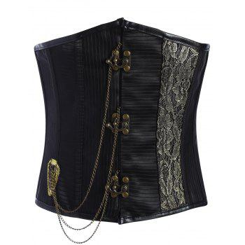 Metal Chain Embellished Lace Up Underbust Corset
