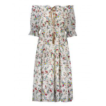 Plus Size Flounce Floral Off The Shoulder Midi Chiffon Dress