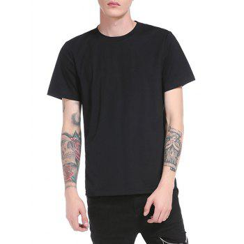 Back Zipper Design Longer in the Rear Curve Bottom T-Shirt - BLACK BLACK