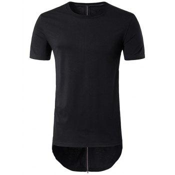 Back Zipper Design Longer in the Rear Curve Bottom T-Shirt
