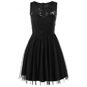 Sleeveless Voile Lace Short Cocktail Semi Formal Dress - BLACK XL