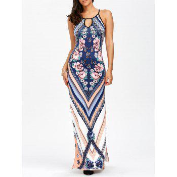 Floral Chevron Sleeveless Keyhole Neck Beach Maxi Dress