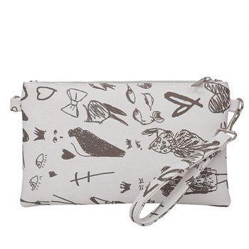 Graffiti Print Faux Leather Wristlet - WHITE WHITE