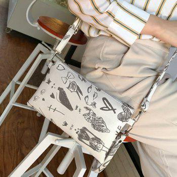 Graffiti Print Faux Leather Wristlet -  WHITE