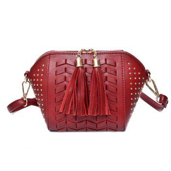 Weaving Tassel Rivet Crossbody Bag