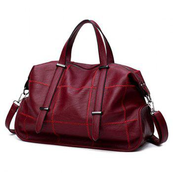 Faux Leather Stitching Slouchy Handbag -  RED