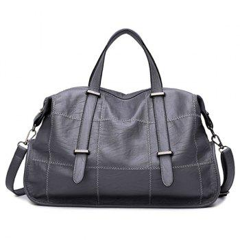 Faux Leather Stitching Slouchy Handbag - GRAY GRAY