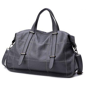 Faux Leather Stitching Slouchy Handbag - Gris