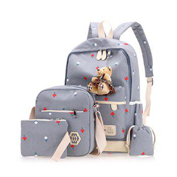 4 Pieces Floral Print Backpack Set with Bear