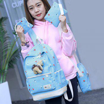 4 Pieces Floral Print Backpack Set with Bear - LIGHT BLUE
