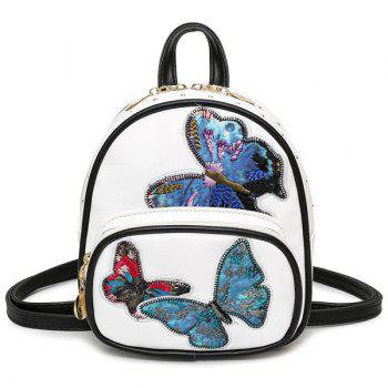 Butterfly Patches Faux Leather Backpack