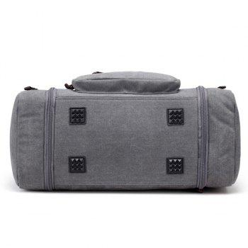 Multi Zippers Canvas Weekender Bag - GRAY