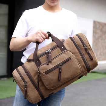 Multi Zippers Canvas Weekender Bag -  BROWN