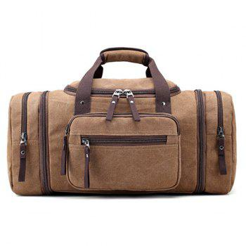 Multi Zippers Canvas Weekender Bag - BROWN BROWN