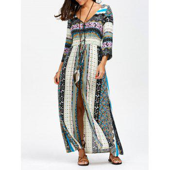 Elastic Empire Waist Button Up Maxi Dress