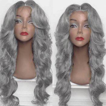 Long Shaggy Middle Part Big Wavy Synthetic Wig - FROST FROST