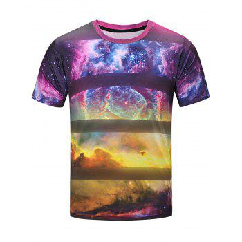 3D Galaxy Stripe Print Short Sleeve T-Shirt