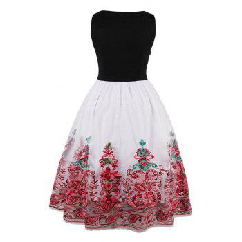 Vintage Embroidered Flare Dress - RED XL