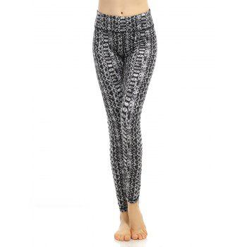 High Waist Pattern Fitness Leggings - BLACK BLACK