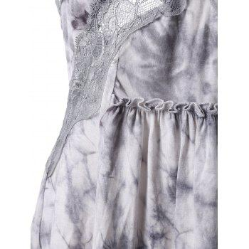 Lace Trim Ruffle Tie Dye Tank Top - GRAY L