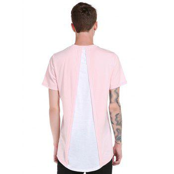 Curve Bottom Hip Hop Color Block Longline T-Shirt - PINK S