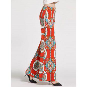 Floral Printed High Waisted Palazzo Pants - WHITE / ORANGE / BLUE S