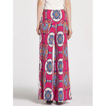 Floral Printed High Waisted Palazzo Pants - ROSE MADDER S