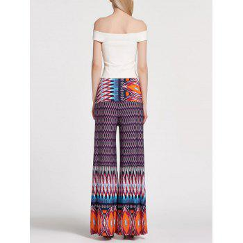 Floral Printed High Waisted Palazzo Pants - PURPLE S
