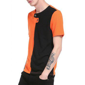 Button Embellished Color Block Panel T-Shirt - ORANGE L