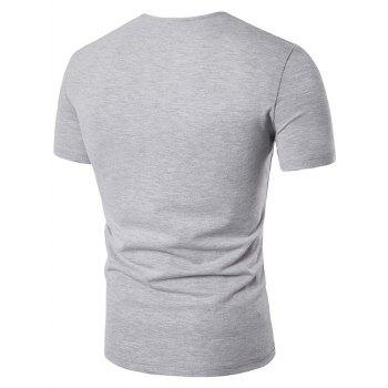 Button Embellished Color Block Panel T-Shirt - LIGHT GRAY M