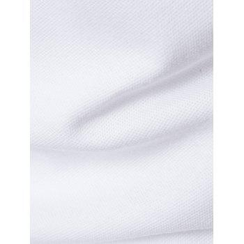 Button Embellished Color Block Panel T-Shirt - WHITE XL