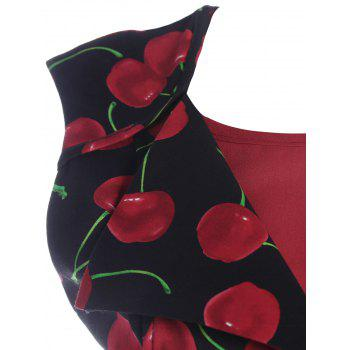 Printed Front Buttoned Sleeveless Vintage Dress - CERISE 2XL