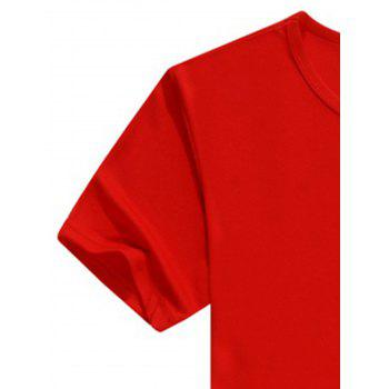 Crew Neck Short Sleeve Basic Casual T-Shirt - RED L
