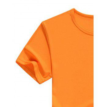 Crew Neck Short Sleeve Basic Casual T-Shirt - ORANGE S