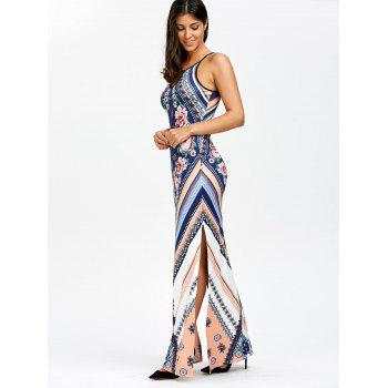 Floral Chevron Sleeveless Keyhole Neck Beach Maxi Dress - BLUE L